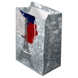 Silver Glitter Eiffel Tower Red White Blue Party Medium Gift Bag