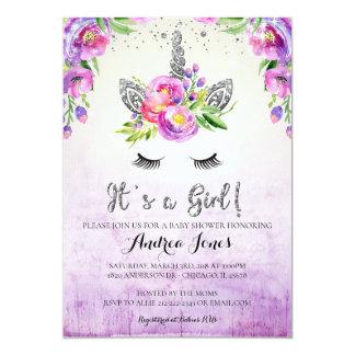 Silver Glitter Floral Unicorn Baby Shower Invite