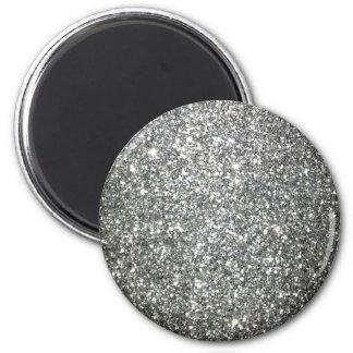 Silver Glitter Glamour 6 Cm Round Magnet