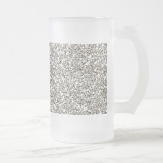 Silver Glitter Hanukkah Glass Frosted Glass Beer Mug