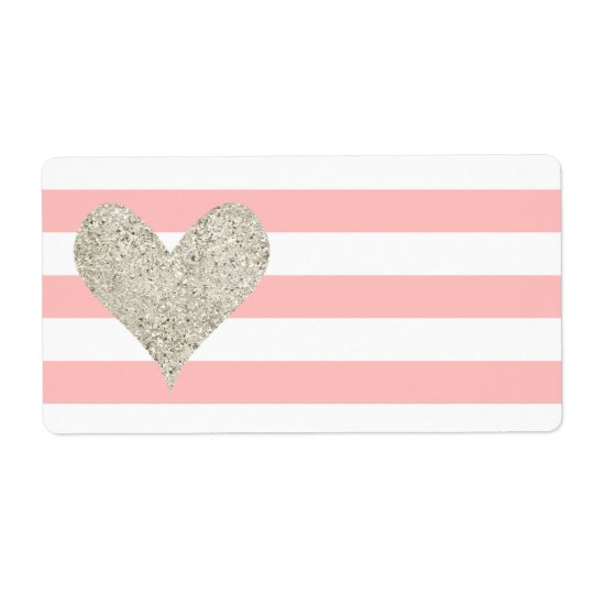 Silver Glitter Heart Shipping Label