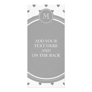 Silver Glitter Hearts with Monogram Rack Card Template