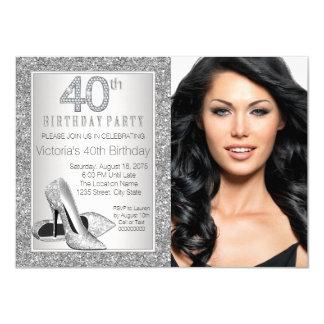 Silver Glitter High Heel Shoe 40th Birthday 11 Cm X 16 Cm Invitation Card