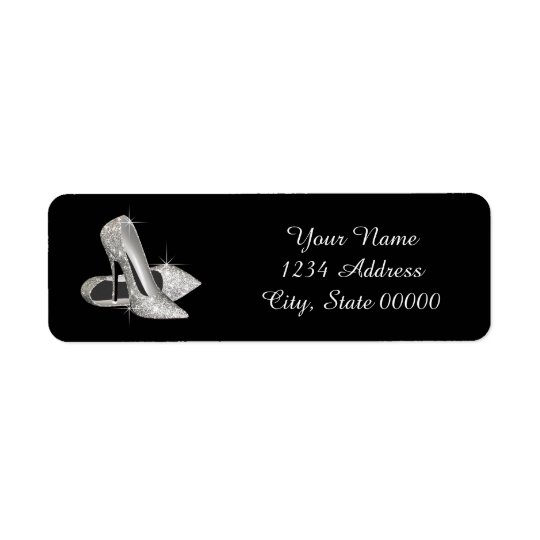 Silver Glitter High Heel Shoe Address Labels