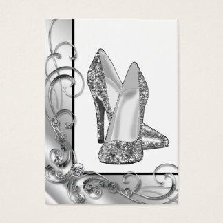 Silver Glitter High Heel Shoe Business Card