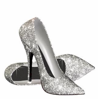 Silver Glitter High Heel Shoes Standing Photo Sculpture
