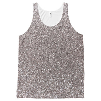 Silver glitter All-Over print tank top