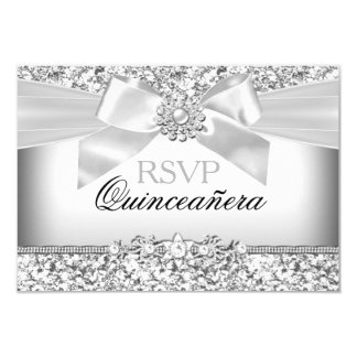 Silver Glitter & Jewel Bow Quinceanera RSVP Announcement Card