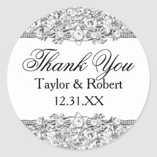 Silver Glitter & Jewel Thank You Sticker