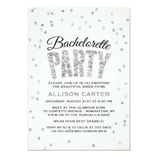 Silver Glitter Look Confetti Bachelorette Party 13 Cm X 18 Cm Invitation Card
