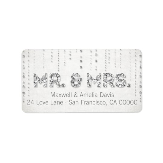 Silver Glitter Look Mr. & Mrs. Labels