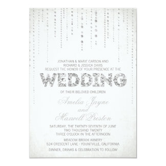 "Silver Glitter Look Wedding Invitation 5"" X 7"" Invitation Card"