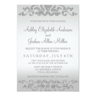 Silver Glitter Look Wedding Invitations
