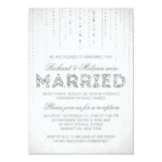 Silver Glitter Look Wedding Reception Only 13 Cm X 18 Cm Invitation Card