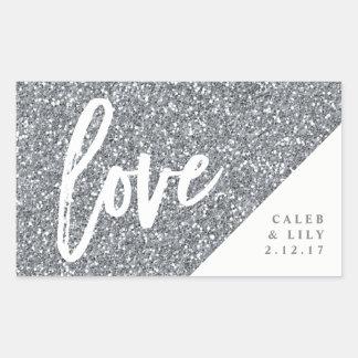 Silver Glitter Mini Champagne, Mini Wine, Label Rectangular Sticker
