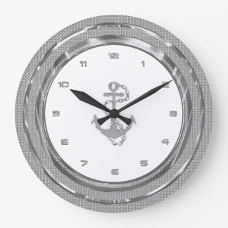 Silver Glitter Nautical Anchor Black Background 2 Large Clock