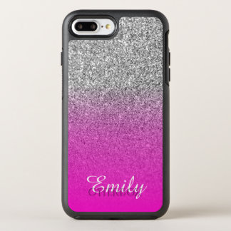 Silver Glitter Neon Pink Ombre Personalized OtterBox Symmetry iPhone 7 Plus Case