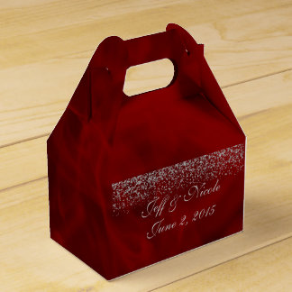 Silver Glitter on Red Wedding Party Favor Favour Box