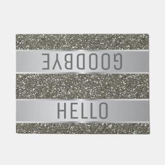 Silver Glitter Pattern Hello Goodbye Doormat