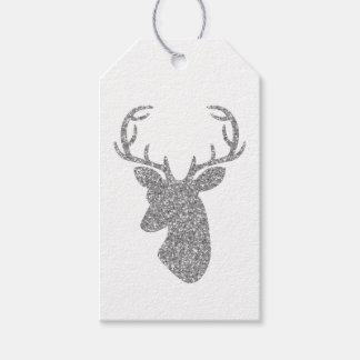 Silver Glitter Pattern Look-like Deer Head Gift Tags