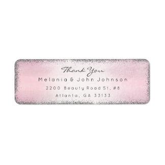 Silver Glitter Pink Thank You RSVP Delicate Return Address Label
