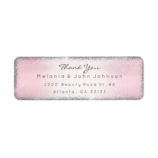 Silver Glitter Pink Thank You RSVP Delicate Return Address Label