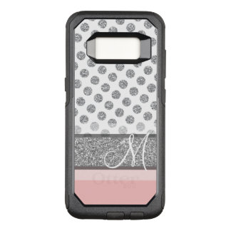 Silver Glitter Polka Dot Monogram Can CHANGE OtterBox Commuter Samsung Galaxy S8 Case