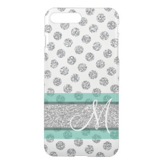 Silver Glitter Polka Dot Pattern with Monogram iPhone 7 Plus Case