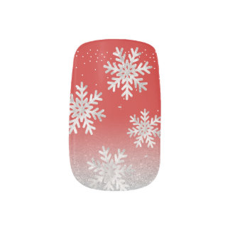 Silver Glitter Snowflake Red Christmas Minx Nail Art