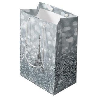 Silver Glitter Sparkle Bling Eiffel Tower Party Medium Gift Bag