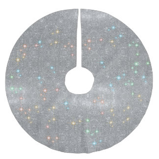 Silver Glitter Sparkle Faux Christmas Light Shine Brushed Polyester Tree Skirt