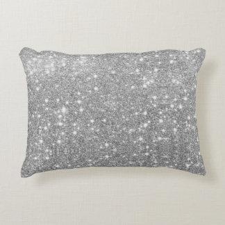 Silver Glitter Sparkle Metal Metallic Look Decorative Cushion