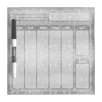 Silver Glitter Sparkle Metal Metallic Look Dry Erase Board