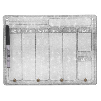 Silver Glitter Sparkle Metal Metallic Look Dry Erase Board With Key Ring Holder