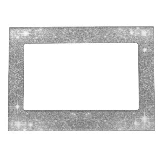 Silver Glitter Sparkle Metal Metallic Look Magnetic Frame
