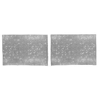 Silver Glitter Sparkle Metal Metallic Look Pillowcase
