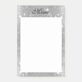 Silver Glitter Sparkle Metal Metallic Look Post-it Notes