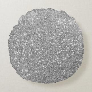 Silver Glitter Sparkle Metal Metallic Look Round Cushion