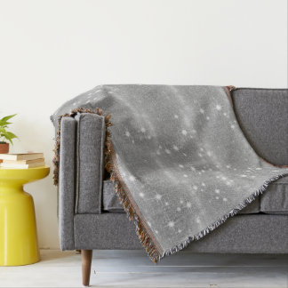 Silver Glitter Sparkle Metal Metallic Look Throw Blanket