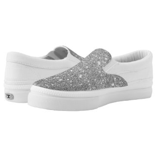 Silver Glitter Sparkles Slip-On Shoes