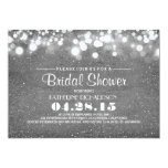 silver glitter & string lights bridal shower 13 cm x 18 cm invitation card