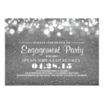 silver glitter & string lights engagement party 13 cm x 18 cm invitation card