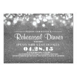 "Silver glitter & string lights rehearsal dinner 5"" x 7"" invitation card"