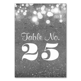Silver glitter string lights table number cards