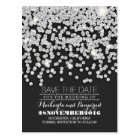Silver glitter string of lights save the date postcard