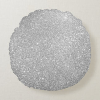 Silver Glitter Style Image Round Cushion