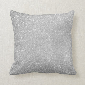 Silver Glitter Style Image Throw Pillow