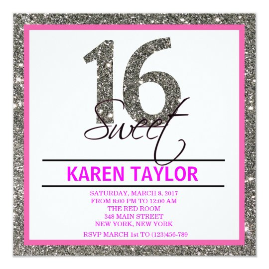 Silver Glitter Sweet 16 Custom Invitation