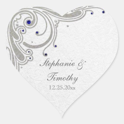 Silver glitter swirls + blue jewel wedding sticker