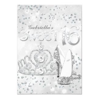 Silver Glitter Tiara & Heels Sweet 16 Invite